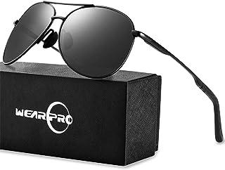 wearPro - Gafas de sol polarizadas de estilo aviador para hombre, polarizadas, gafas de sol de aviador para hombre, con espejo