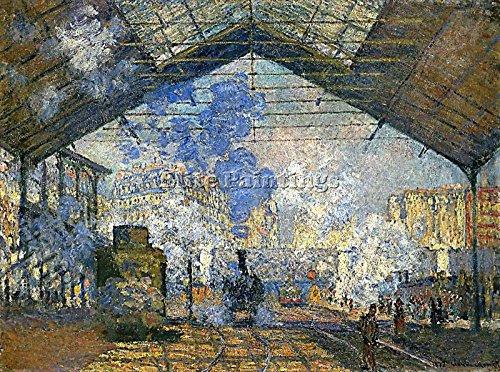 Elite-Paintings Claude Monet LA Gare Saint Lazare 1874 Artista Quadro Dipinto Olio su Tela Mano 90x120cm Alta qualita