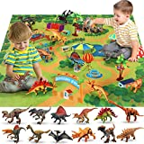 Dinosaur Toys - 12 Realistic Dinosaur Figures, Activity Play Mat & Trees for Creating a Dino World Including T-Rex, Triceratops, etc, Dinosaur Playset for 3,4,5,6,7,8Years Old Kids, Boys & Girls