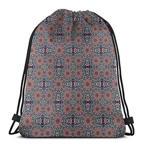 DPASIi Drawstring Shoulder Backpack Travel Daypack Gym Bag Sport Yoga,Artistic Eastern Composition with Blossoming Lotus Flower Motifs Ethnic Yoga Theme,5 Liter Capacity,Adjustable.