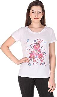 MODISH Women's Printed Round Neck Designer Sleeve Cotton t-Shirt