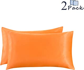 Ethlomoer 2-Pack Luxury Smooth Satin Pillowcase for Hair and Skin, Soft Breathable with Envelope Closure (Bright Orange Standard)