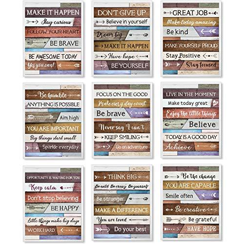 9 Piezas Arte de Pared Inspirador para Oficina Póster de Cita Motivacional de Inspirador, Decoración de Pared con Cita Inspiradora, Decoración de Pared de Citas Inspiradora, sin Marco