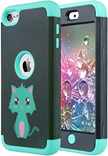 ULAK iPod Touch 7 Case, iPod Touch 6 & 5 Case, Heavy Duty High Impact Shockproof Cover Protective Case for Apple iPod Touch 5th 6th 7th Generation, Mint Green Cat