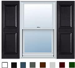 15 Inch x 55 Inch Standard Raised Panel Exterior Vinyl Shutters, Black (Pair)