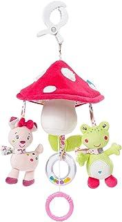 Fehn 076530 Mini-Musik-Mobile Pilz – Spieluhr-Mobile für Unterwegs zum Befestigen an Kinderwagen oder Babyschale - für Babys und Kleinkinder ab 0 Monaten
