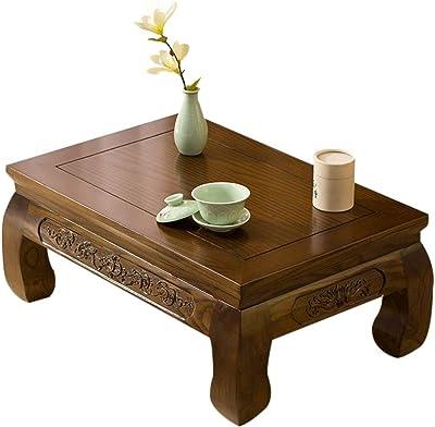 Coffee Table Solid Wood Balcony Bay Window Tea Room Tatami Small Table Tea Small Table Japanese Table Small Table Simple Study Table (Size : 60x60x30cm)