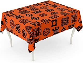 Semtomn 52 x 70 Inch Decorative Rectangle Tablecloth African Adinkra Pattern Black and White Digital Ritual Symbols Waterproof Oil-Proof Printed Table Cloth