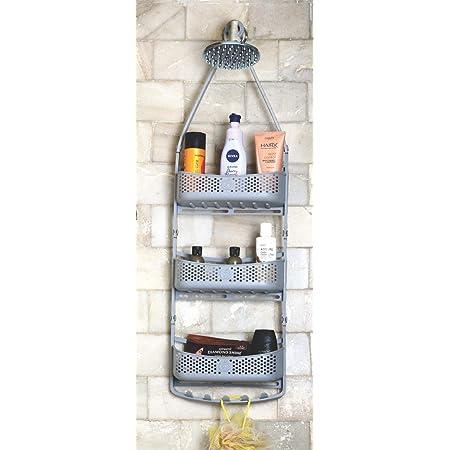 Praha Shelf Hanging Shower Caddy Bathroom Shelves Storage Rack Holder with Adjustable Arms (3 Layer, Grey)