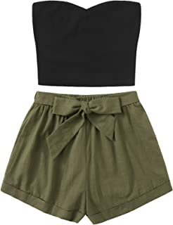 Women's 2 Piece Outfit Summer Plain Tube Crop Top with Shorts
