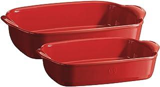"""Emile Henry Baking Dish Set (Set Of 2), 11.4"""" x 7.5""""/14.2"""" x 9.1"""", Burgundy"""