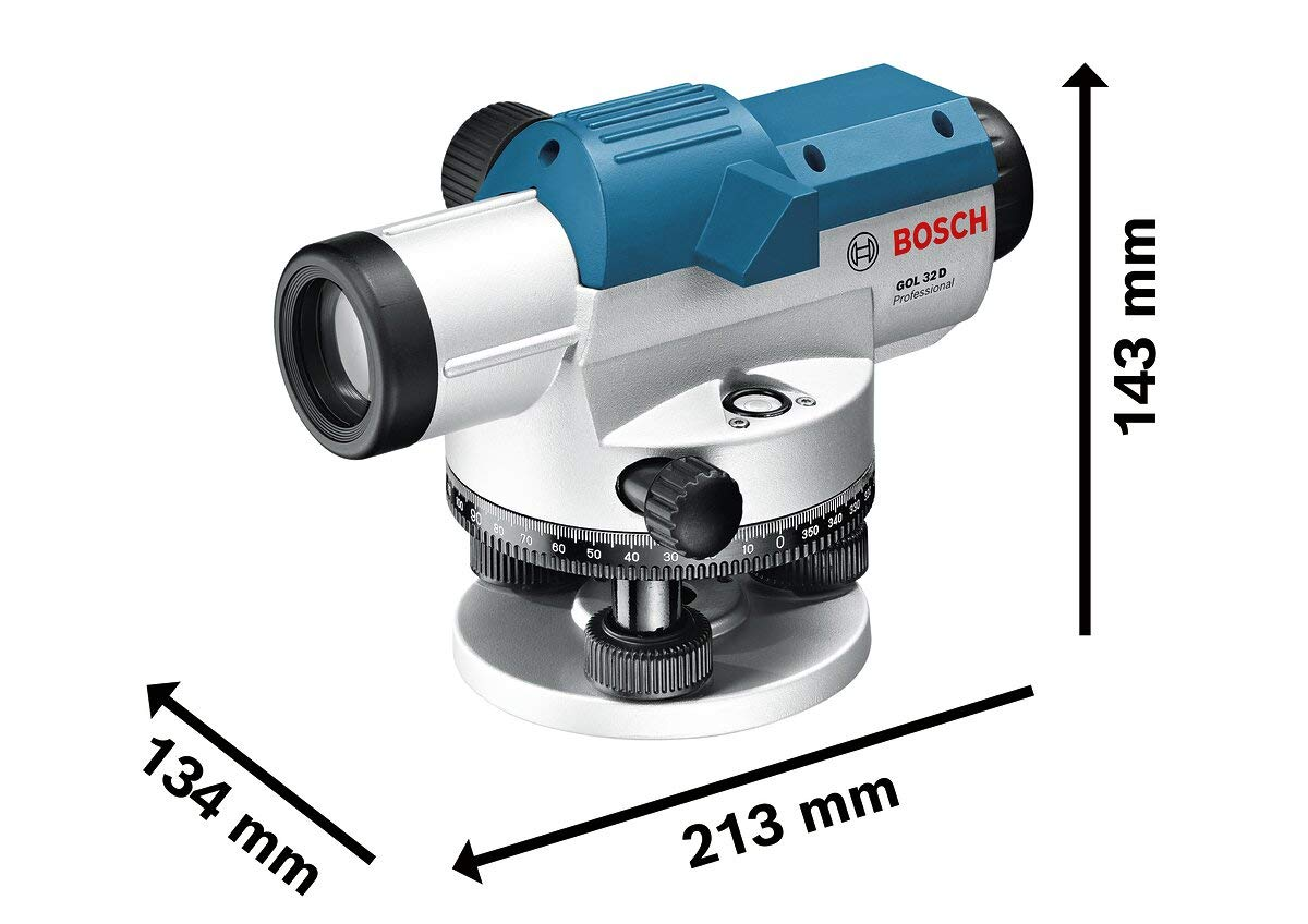 Bosch Professional Optical Level GOL 32 D (32 x Magnification, Unit of Measure: 360 Degrees, range: Up to 120 m, in Carrying Case)