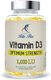 Vitamina D3 1.000 IU, 365 Cápsulas de Gel Suministro Para Un Año, Sólo Una Dosis Al Día, Eficacia Óptima de Flex-D3 (365 Cápsulas de Gel)