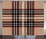 ABAKUHAUS A Cuadros Cortinas, Clásica Tela Escocesa británica, Sala de Estar Dormitorio Cortinas Ventana Set de Dos Paños, 280 x 245 cm, Brown pálido Naranja Blanco