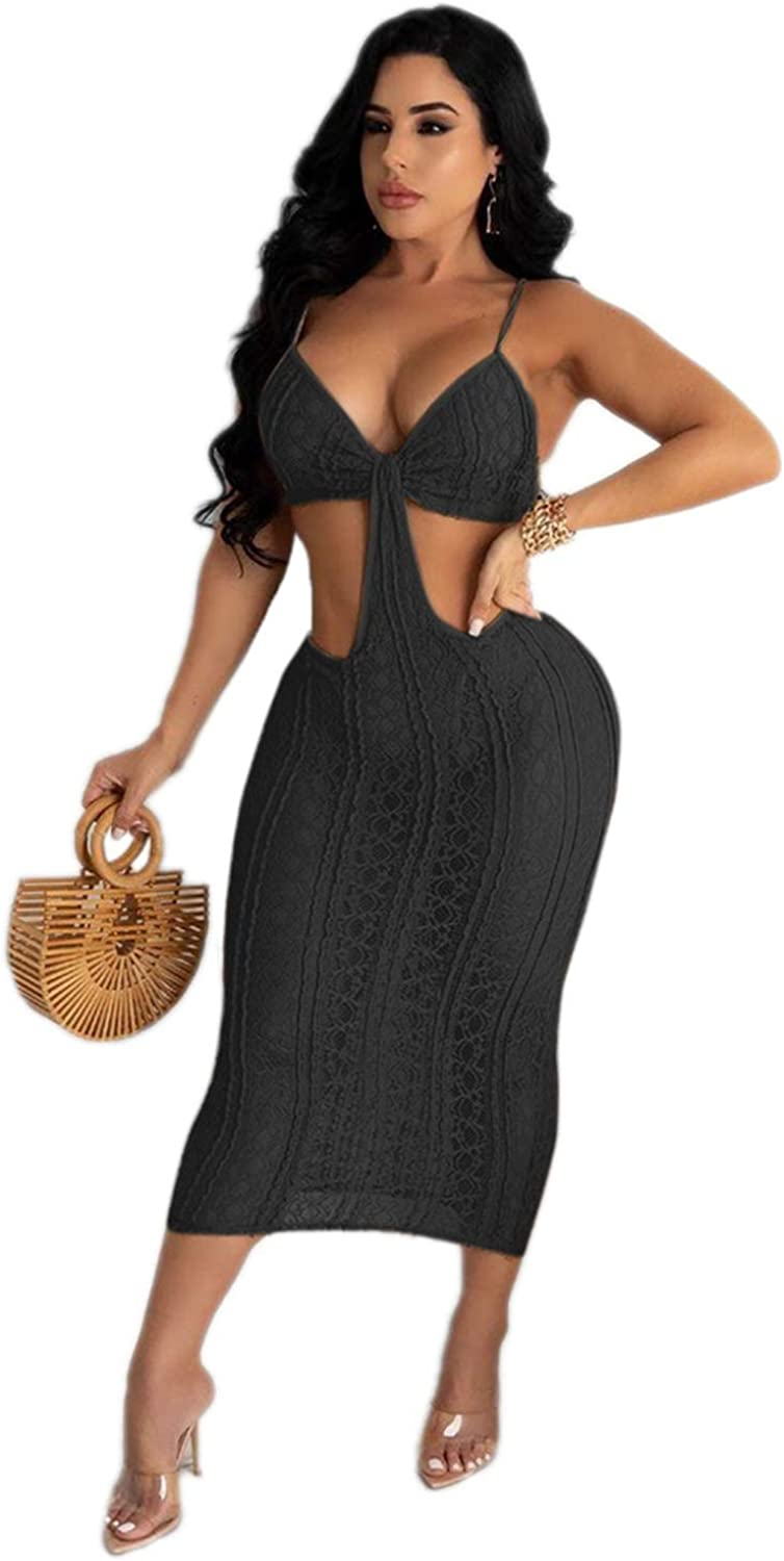 Ekaliy Womens Summer Sexy Dress Outfits - Halter Bandage Lace Up Crop Tops Bodycon Floral Lace Skirts Sets Clubwear