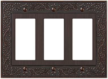 Amerelle English Garden Triple Rocker Cast Metal Wallplate in Aged Bronze
