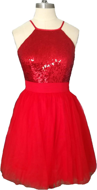 Dearta Women's ALine Halter Short Mini Red Sequins Zipper Homecoming Dresses