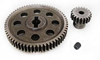 JFtech 11184 & 11181 Differential Steel Metal Super Gear Main Gear 64T & Motor Gear 21T Combo for RC HSP 1/10 Car Truck