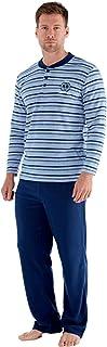 comprar comparacion Conjunto de pijama de manga larga y suave con forro polar térmico para hombre Azul azul (stripe) XL
