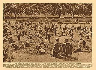 Temporary beach in Bishop's Park, Fulham. Sandcastles - 1926 - old print - antique print - vintage print - printed prints of London