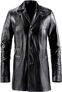SNA Max Payne Mark Wahlberg Mens Black Leather Trench Coat Jacket