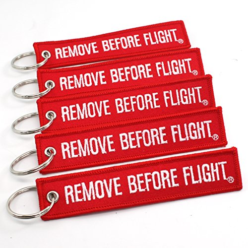 Remove Before Flight Key Chain - 5 Pack Red with White Letters - Rotary13B1