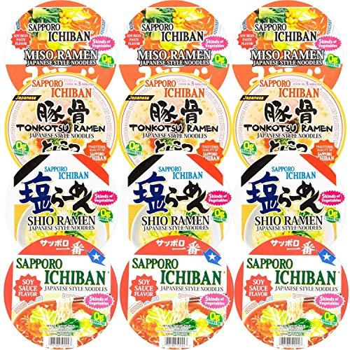 Sapporo Ichiban Vairety Mix Bowl Ramen Noodles, Original, Miso, Tonkotsu, and Shio (Pack of 12)