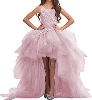 Train Flower Girl Dress High-Low First Communion Lace Tulle Appliques Pageant Wedding Puffy Long Tail Dress