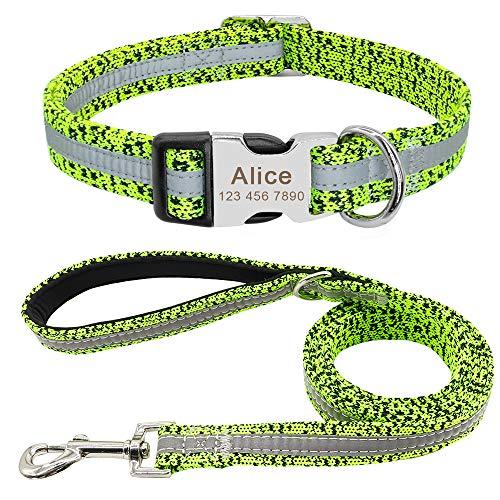 PET ARTIST Hundehalsband für kleine mittelgroße und große Hunde, reflektierend, graviert, mit Name für Französische Bulldogge, Mops, Pudel, Boxer, Deutscher Schäferhund, 3 Farben / 3 Größen