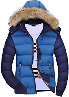UUYUK Men Winter Thicken Quilted Faux Fur Hooded Down Jacket Outwear