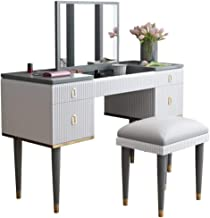 Square Mirror Makeup Dressing Table with Flip Top Dressers with4 Big Drawers 4 dividers Organizers Bedroom Furniture