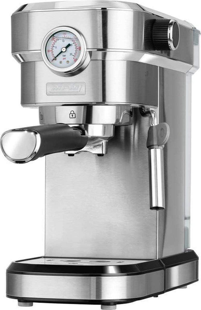 MPM MKW-08M Cafetera Express 20 Bares, para Café Espresso, Cappuccino y Latte, Vaporizador para Espumar Leche, Calienta Tazas, Acabado Acero Inoxidable, Depósito de Agua 1,2 L Desmontable, 1350W