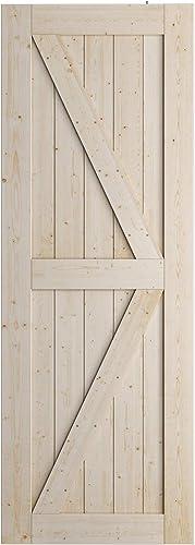 2021 SmartStandard 30in x 84in Sliding Barn Wood Door Pre-Drilled outlet online sale Ready to Assemble, DIY Unfinished Solid Spruce discount Wood Panelled Slab, Interior Single Door Only, Natural, K-Frame, (Fit 5FT Rail) online sale