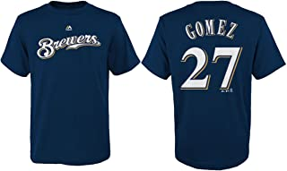 Majestic Carlos Gomez Milwaukee Brewers MLB Youth's Navy Blue Player Name & Number Jersey T-Shirt