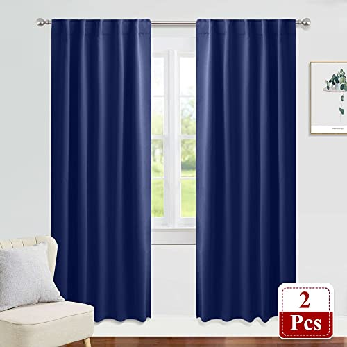 3 Inches Pocket Rods Bedroom Curtains Blue Amazoncom