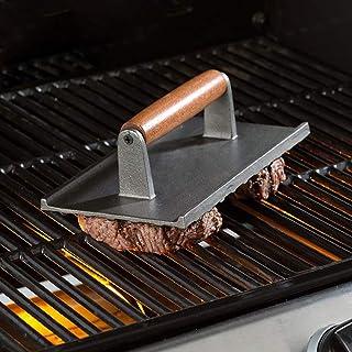 WENER 肉プレス 肉おさえ ミートプレス 木製ハンドル ステーキ 鉄板焼き 焼き肉 バーベキュー キッチンツール 調理用品