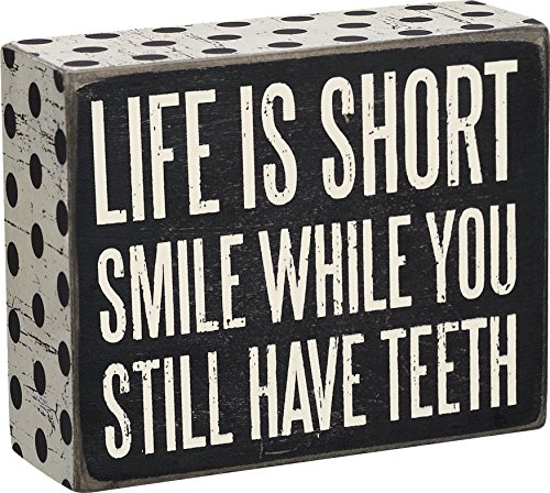 Primitives by Kathy Polka Dot Trimmed Box Sign, 4' x 5', Life is Short