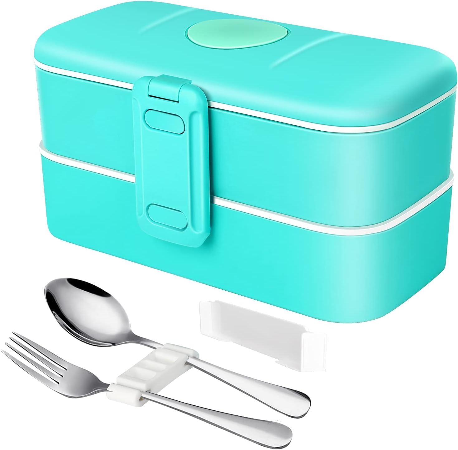 Fiambrera Bento Box de Doble Capa, con Cubiertos de Acero Inoxidable, 1000ml, Material PP, Apta para Microondas, Lavavajillas y Frigorífico, Hermética, Fiambrera para Adultos y Niños sin BPA