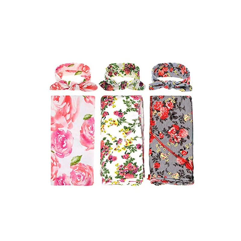crib bedding and baby bedding 3 pack receiving blanket with headbands bqubo newborn baby floral printedbaby shower swaddle gift
