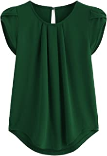 e75eb90675e645 Milumia Women s Casual Round Neck Basic Pleated Top Cap Sleeve Curved  Keyhole Back Blouse