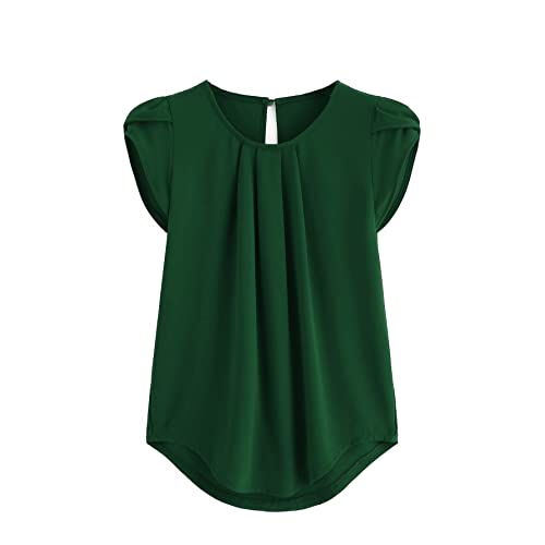 09f8ec6c1d Milumia Women s Casual Round Neck Basic Pleated Top Cap Sleeve Curved  Keyhole Back Blouse