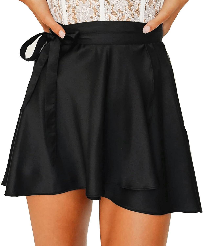 Womens High Waist Short Skirt Satin Lace up Short Skirt Pleated Skater Tennis Skirt Casual Solid Color Mini Skirt