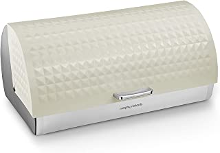 Morphy Richards Dimensions Roll Top Bread Bin with Stainless Steel Body, Ivory Cream
