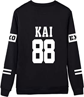 Kpop EXO Black Sweater Long Sleeve Hoody Pullover Sweatershirt