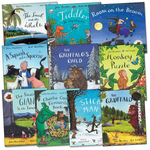 Julia Donaldson Gruffalo Collection 13 Books Set (Gruffalo, Highway Rat, Stick Man, Tabby MacTat, One Mole, Hippo Has A Hat, Chocolate Mousse For Greedy Goose, Rosie's Hat, One Ted, Night Monkey Day Monkey, Toddle Waddle, Wriggle and Roar, Cave Baby) (Gruffalo Collection)