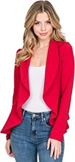 CLOVERY Women's Long Sleeve Cardigan Lightweight Open Front Office Blazer with Plus Size