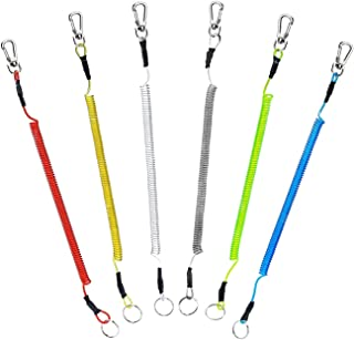 【6本セット】スパイラルコード 釣り用道具 尻手ロープ 最大伸び1.5m MAX強度10KG ワイヤー入り釣り 伸縮コード 山登り キャンプ 道具の落下を防止 カラフル