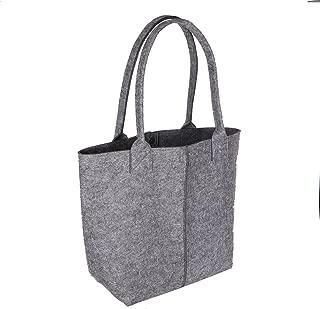 Felt Shopping Bag Reusable Eco-Friendly Soft Multi-pocket Handbag Travel Organizer Grey