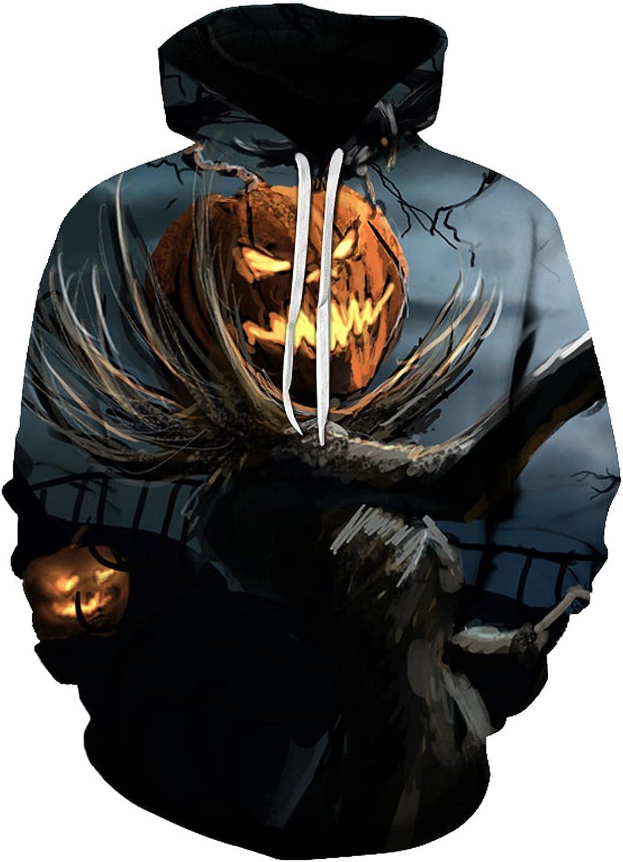 BEUU Halloween Hoodies for Mens, 3D Funny Pumpkin Jack-o-Lantern Bat Print Hooded Sweatshirts Casual Novelty Pullover