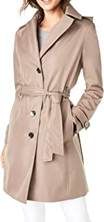 Calvin Klein womens Single Breasted Belted Rain Jacket With Removable Hood